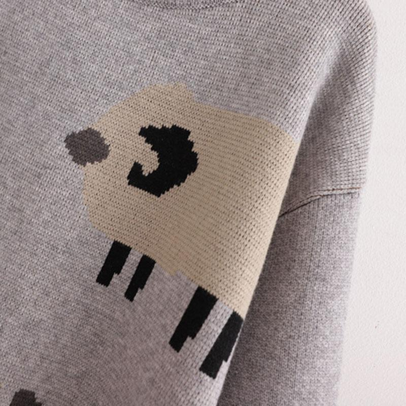 Modakawa Sweatshirt Cartoon Sheep Crocodile Lion Tail Ball Sweatshirt