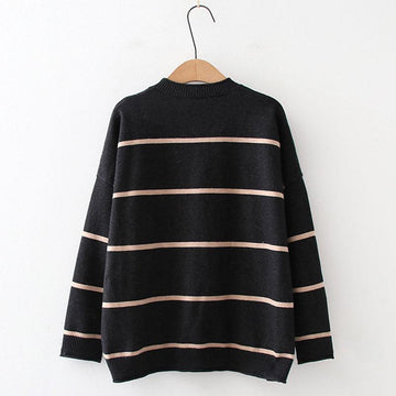 Modakawa Sweatshirt Cat Embroidery Stripe Knitted Sweater