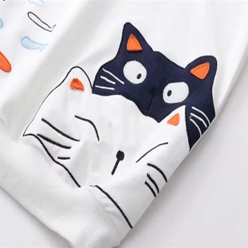 Modakawa Sweatshirt Cat Fish Fake Two-Piece Sweatshirt
