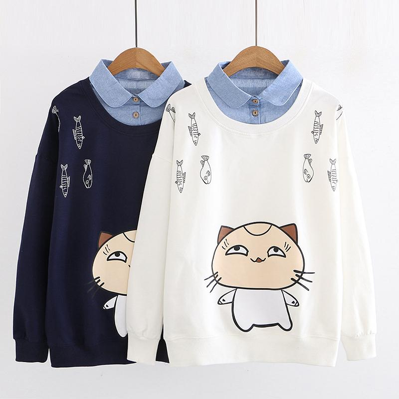 Modakawa Sweatshirt Cat Fish Print Fake Two-Piece Sweatshirt