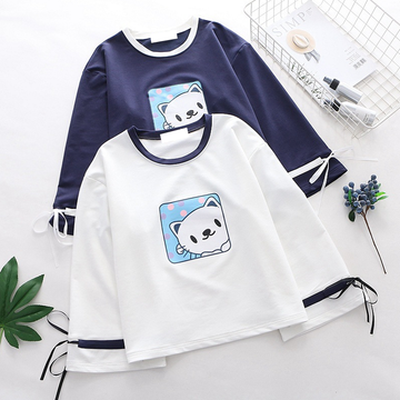 Modakawa Sweatshirt Cat Print Bowknot Sleeves Sweatshirt
