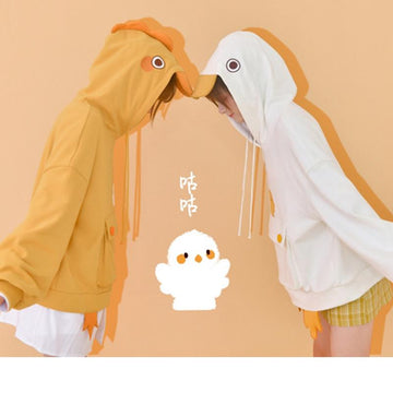 Modakawa Sweatshirt Chicken Duck Embroidery Button Pocket Hoodie