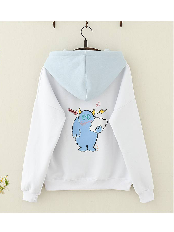 Modakawa Sweatshirt Cloud Embroidery Hoodie