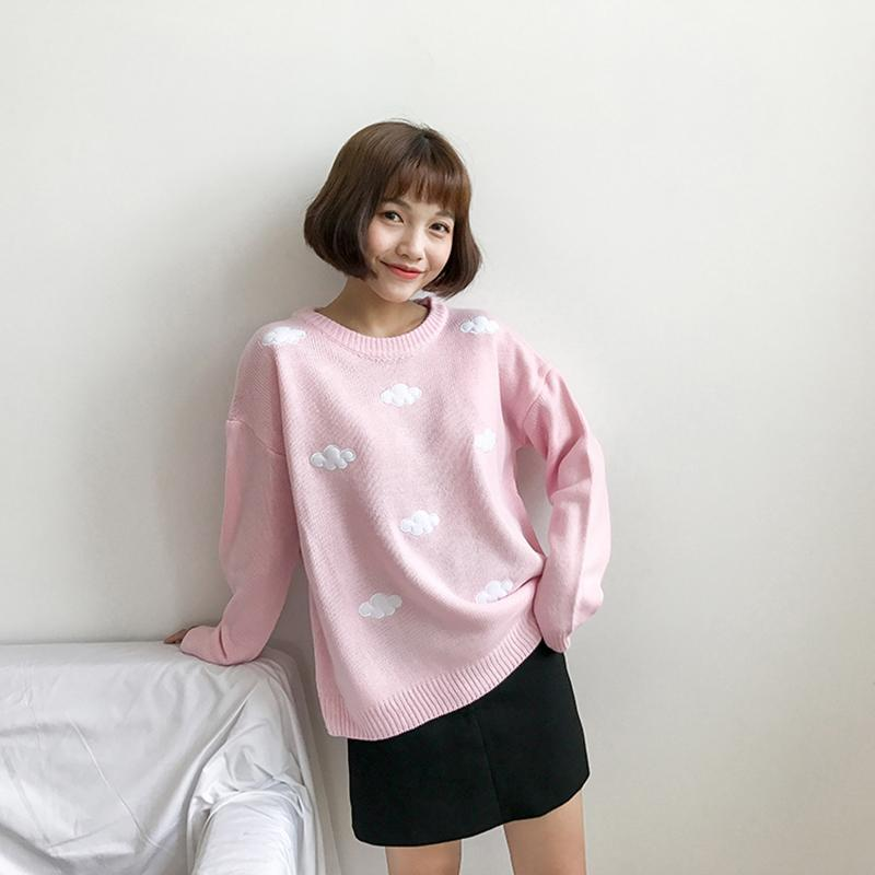 Modakawa Sweatshirt Cloud Round Neck Sweater