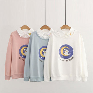 Modakawa Sweatshirt Collar Bunny GO TO THE MOON Letter Print Moon Embroidery Sweatshirt