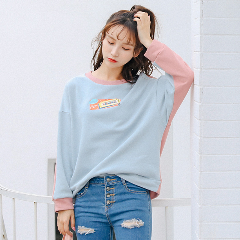 Modakawa Sweatshirt Color Block Cartoon Print Sweatshirt