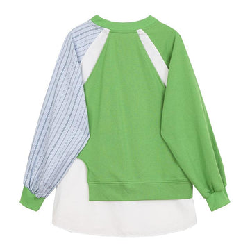 Modakawa Sweatshirt Color Block Stripe Fake Two-Piece Irregular Sweatshirt