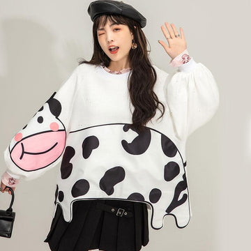 Modakawa Sweatshirt Cotton Cow Print Round Neck Loose Sweatshirt