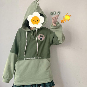 Modakawa Sweatshirt CROCODILE Embroidery Letter Button Pocket Hoodie