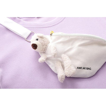 Modakawa Sweatshirt Cute Bear Doll Bag Round Neck Short Sweatshirt Set