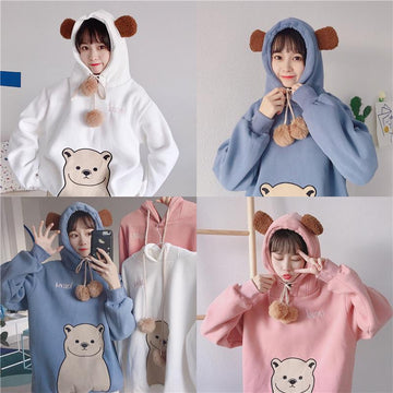 Modakawa Sweatshirt Cute Cartoon Bear Ears Print Brushed Hoodie