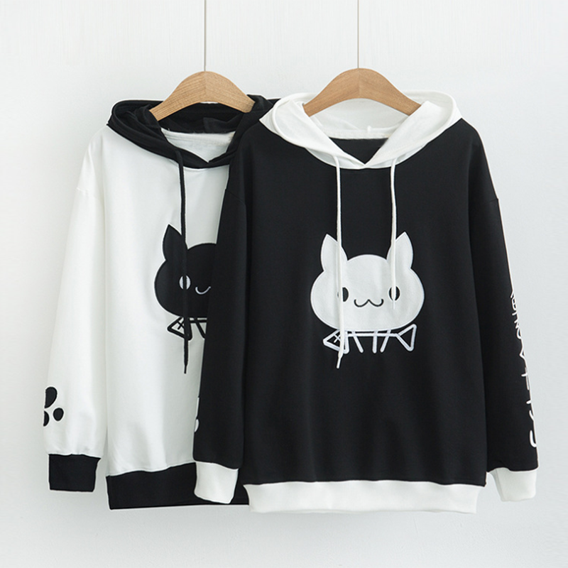 Modakawa Sweatshirt Cute Cat Eat Fish Print Hoodie