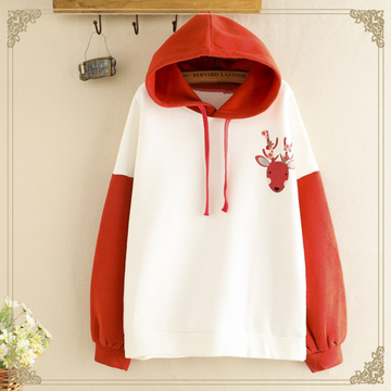 Modakawa Sweatshirt Cute Deer Print Brushed Hoodie