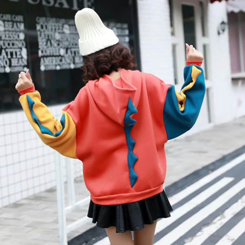 Modakawa Sweatshirt Cute Dinosaur Color-block Oversized Hoodie