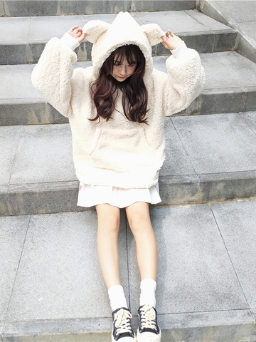 Modakawa Sweatshirt Cute Fluffy Bear Ear Hoodie