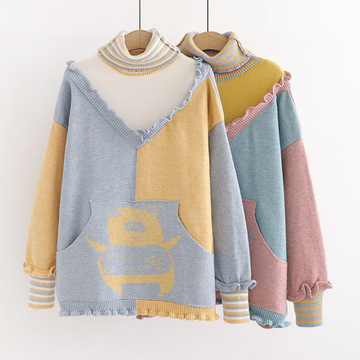 Modakawa Sweatshirt Cute Pig Ruffle Color Block Turtleneck Sweater