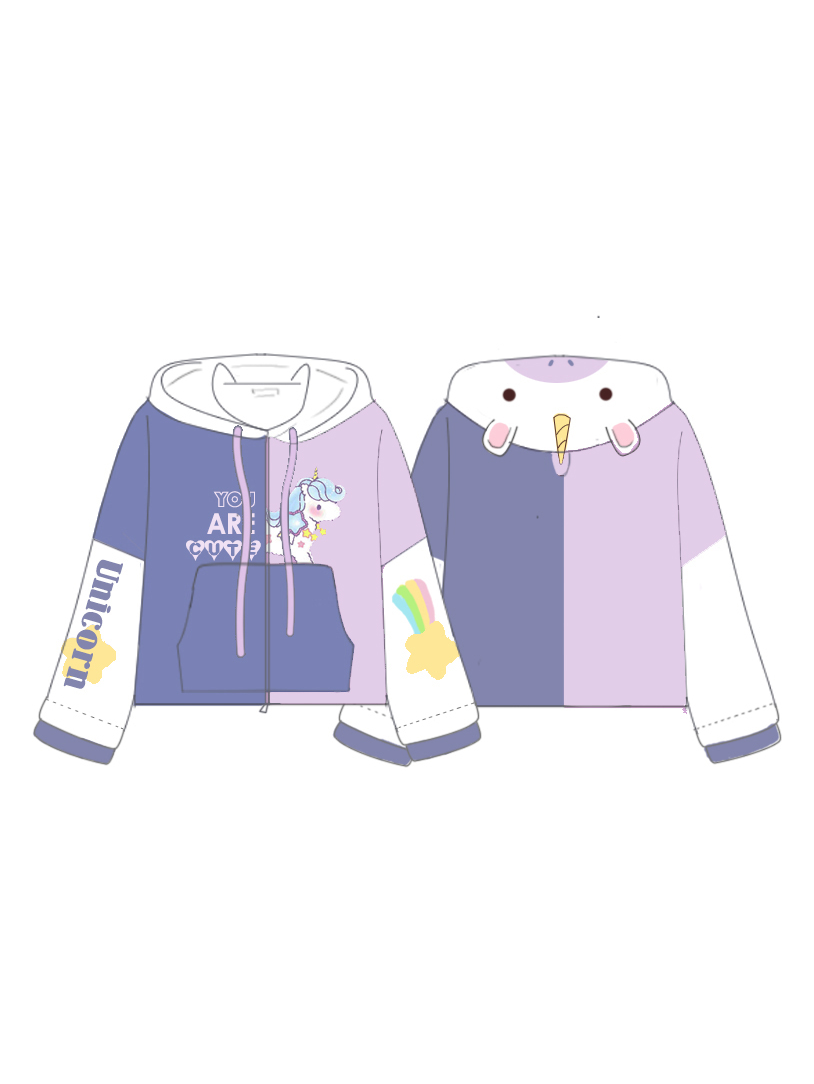 Modakawa Sweatshirt Cute Unicorn Shape Color Block Hooded Jacket