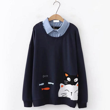 Modakawa Sweatshirt Dark Blue / One Size Cat Fish Fake Two-Piece Sweatshirt