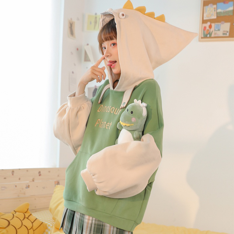 Modakawa Sweatshirt DINOSOUR PLANET Letter Embroidery Color Block Hoodie