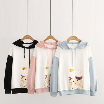 Modakawa Sweatshirt Drop Shoulder Cartoon Cat Fish Print Hoodie Sweatshirt