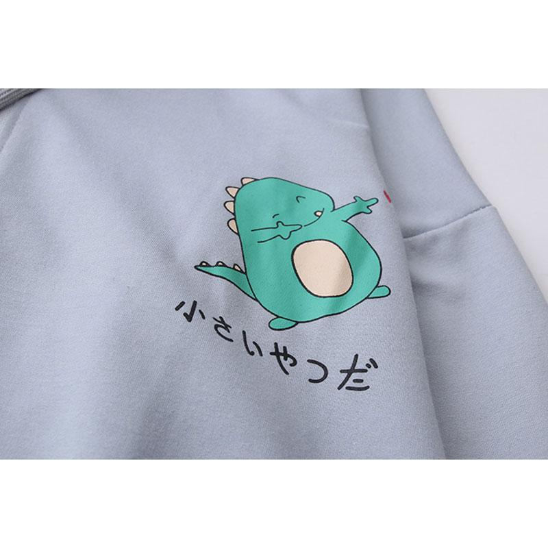 Modakawa Sweatshirt Drop Shoulder Zipper Dinosaur Print Hoodie Pocket Sweatshirt