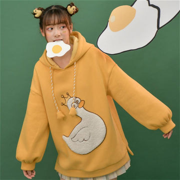 Modakawa Sweatshirt Duck Embroidery Pocket Drawstring Hoodie