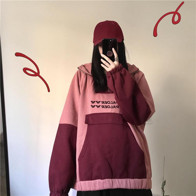 Modakawa Sweatshirt Ears Pocket Zipper Oversize Hoodie Inner Fleece