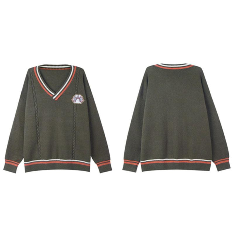 Modakawa Sweatshirt Embroidery Stripe V-Neck Knitted Sweater