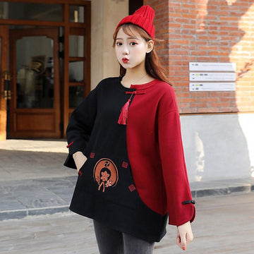 Modakawa Sweatshirt Embroidery Tassels Frog Button Color Block Sweatshirt
