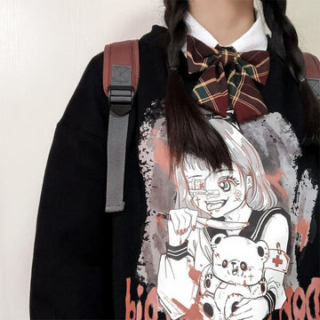 Modakawa Sweatshirt Evil Girl Bear Cartoon Print Sweatshirt