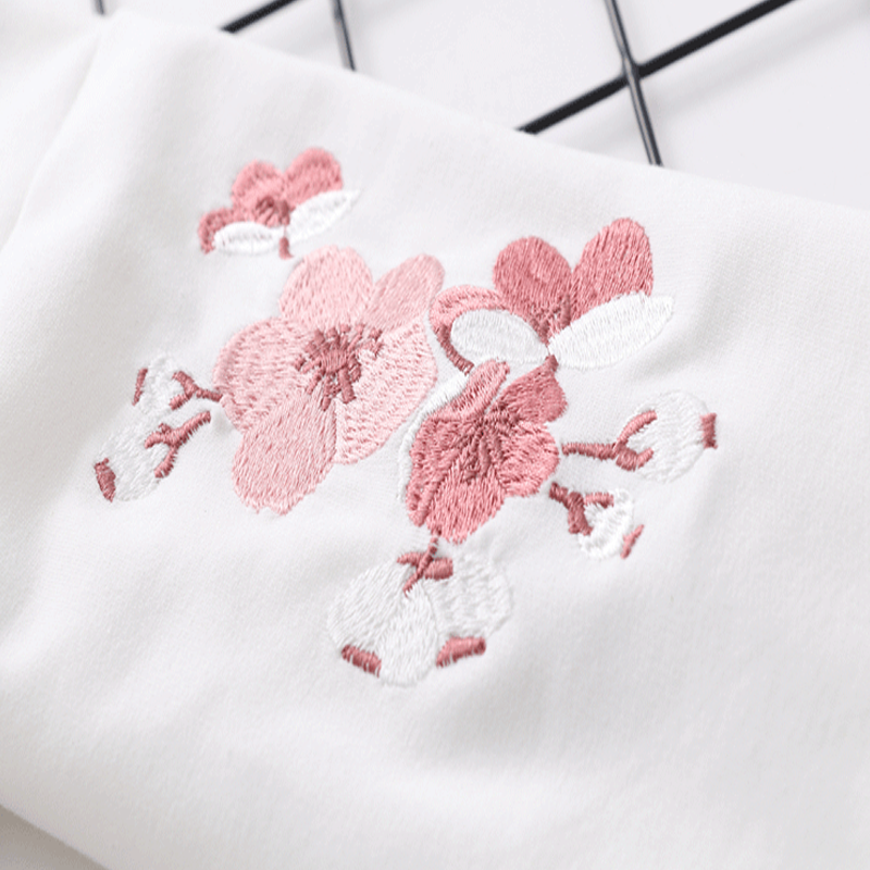 Modakawa Sweatshirt Floral Embroidery Cotton Hoodie