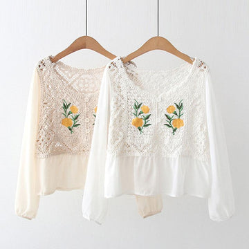 Modakawa Sweatshirt Flower Embroidery Lace Hollow Sweatshirt