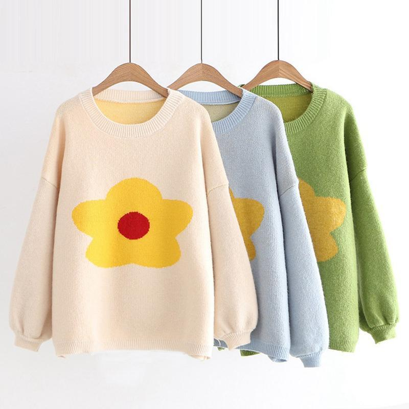 Modakawa Sweatshirt Flower Pattern Drop Shoulder Sweater