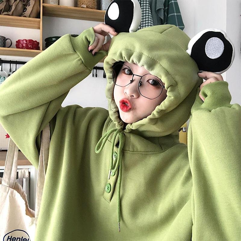 Modakawa Sweatshirt Frog Eyes Ears Button Loose Hoodie