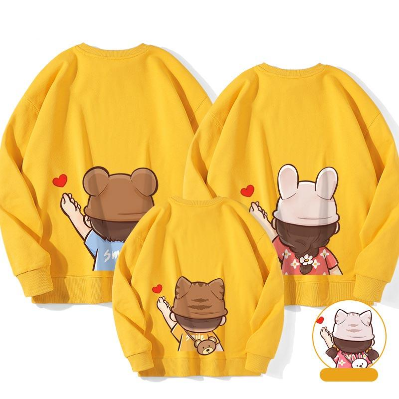 Modakawa Sweatshirt Ginger / Boy: 130 Letter Love Heart Print Family Matching Sweatshirts