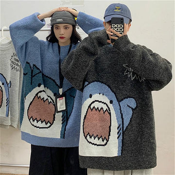 Modakawa Sweatshirt Girlfriend Boyfriend Cartoon Letter Oversized Sweater