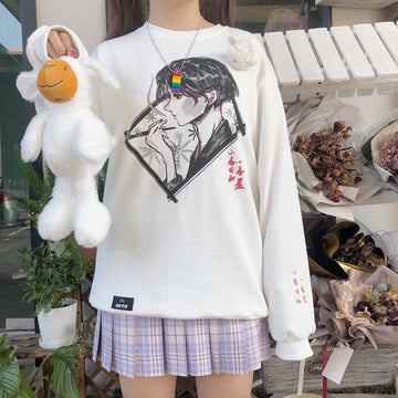 Modakawa Sweatshirt Girlfriend Boyfriend Cartoon Print Embroidery Sweatshirt Round Neck