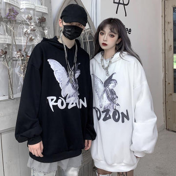 Modakawa Sweatshirt Girlfriend Boyfriend Cartoon Print Oversize Hoodie