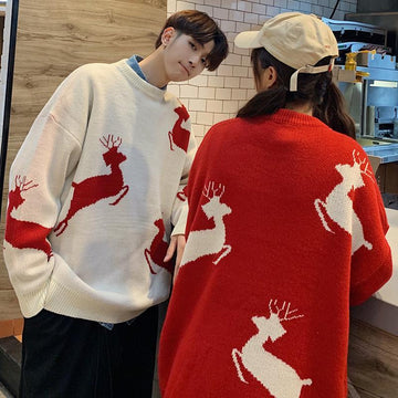Modakawa Sweatshirt Girlfriend Boyfriend Deer Holiday Loose Sweater