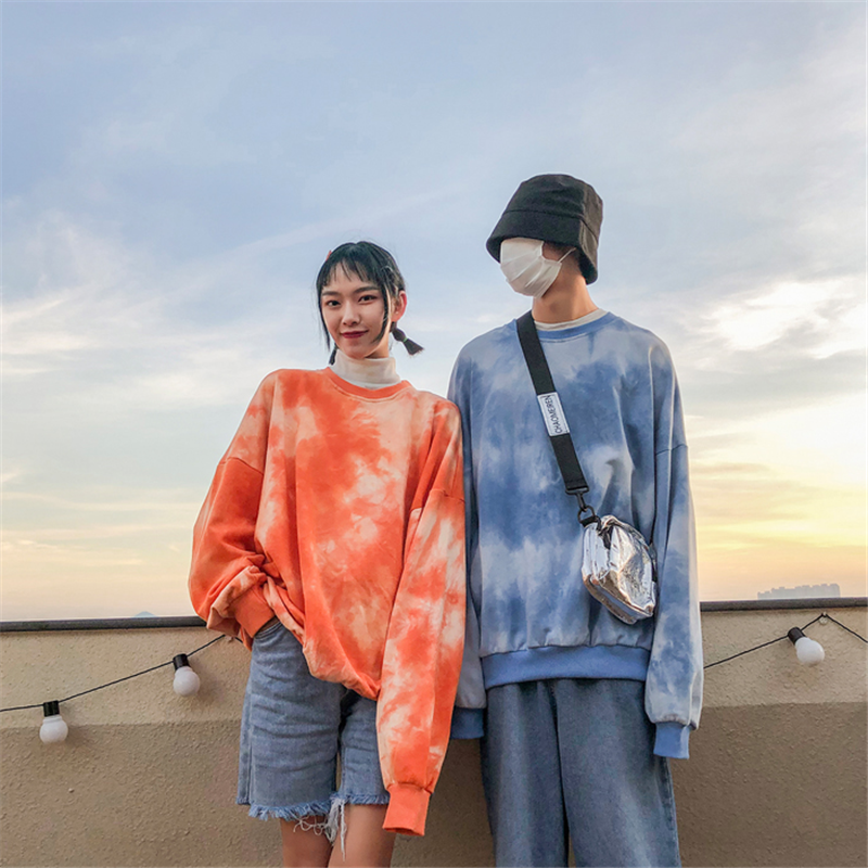 Modakawa Sweatshirt Girlfriend Boyfriend Drop Shoulder Tie Dye Sweatshirt