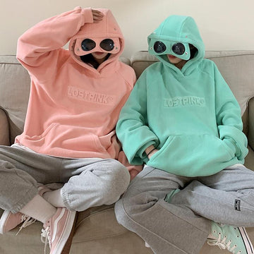 Modakawa Sweatshirt Glasses Letter Pocket Loose Hoodie