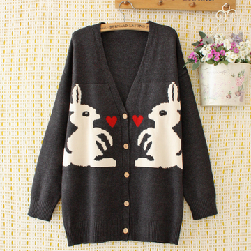 Modakawa Sweatshirt Gray / 2XL Rabbit Love Heart Cardigan Sweater