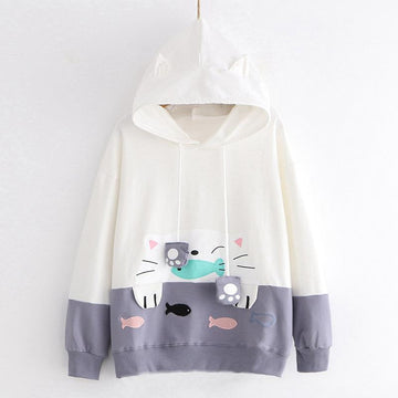 Modakawa Sweatshirt Gray / M Cat Fish Embroidery Hoodie Sweatshirt