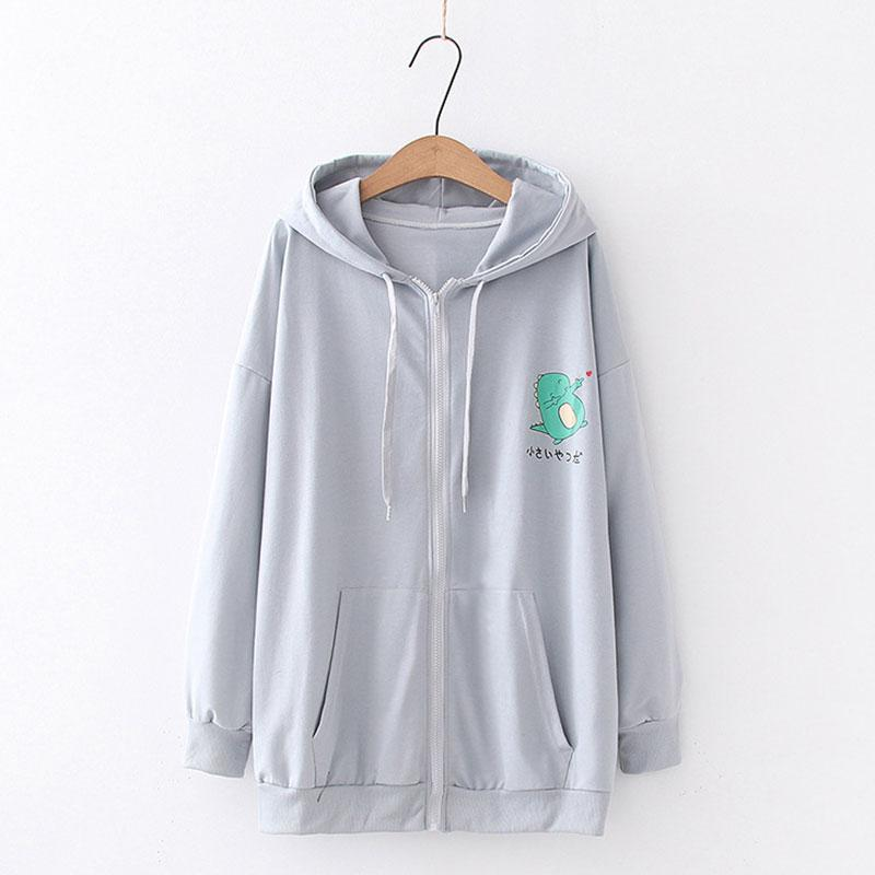 Modakawa Sweatshirt Gray / M Drop Shoulder Zipper Dinosaur Print Hoodie Pocket Sweatshirt