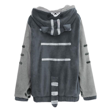 Modakawa Sweatshirt Gray / Normal / S Japanese Kitty Ears Tail Pocket Cartoon Hoodie