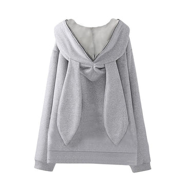 Modakawa Sweatshirt Gray / One Size Bunny Ears Zipper Hoodie Jacket