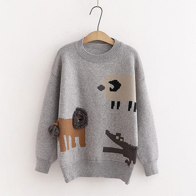 Modakawa Sweatshirt Gray / One Size Cartoon Sheep Crocodile Lion Tail Ball Sweatshirt