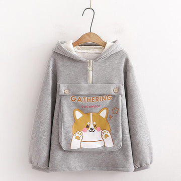 Modakawa Sweatshirt Gray / One Size Dog Letter Print Ears Pocket Zipper Sweatshirt