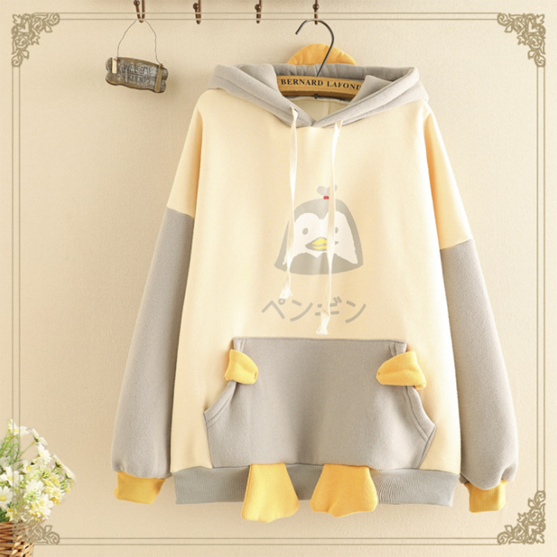 Modakawa Sweatshirt Gray / One Size Kawaii Cartoon Penguin Brushed Hoodie