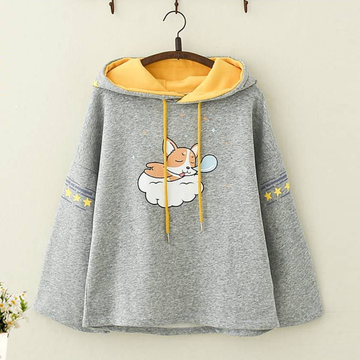 Modakawa Sweatshirt Gray / One Size Kawaii Puppy Print Brushed Hoodie
